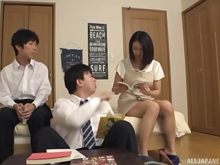Murkiness amateur Japanese MILF pounded in a bathroom threesome