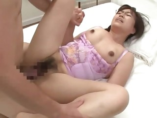 Tight Japanese mature in rough sex scenes with her step son