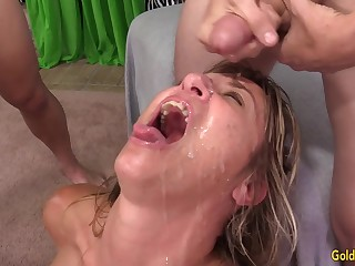 Doyenne Slut Sky Haven Shared Ruin surpass Four Males in a Wild DP Gangbang