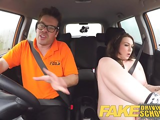 Fake Driving School Instructor gets titty wank from chunky knockers
