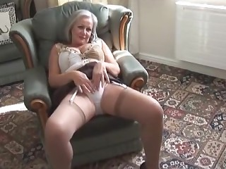 Dear be in charge granny in stockings stripping