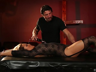 Lana Violet approximately stockings and lingerie submits to her husband