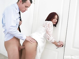 Slutty milf Ryder Skye is fucked by horny stepson below-stairs husband's nose