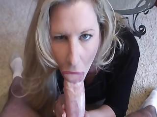 Cum drop in her tight milf mouth
