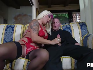 Christie Dom is moaning while two younger guys are fucking the brush brains out, at the same time