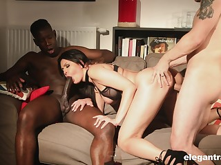 Big racked lady Mariska enjoys wild and hardcore MMF threesome for orgasm