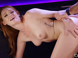 Redhead screams in the air older man's cock first-class her tiny peach