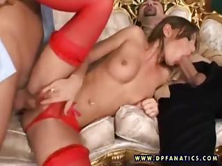 Hot bitch Jennifer Love in hot threeway shagging
