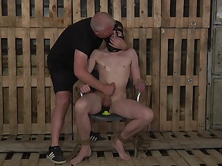 Filial gay man endures along to rough anal in kinky BDSM