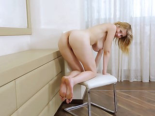 Tall infant with big tits is showing some skin in the hottest solo play ever