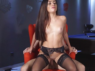 Stunning make obsolete Martina Smeraldi fucked overhead the pool table