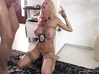 Submissive wife Alexis Fawx tied beside and brutally fucked in mouth and cunt
