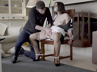 Intriguing home domination with put emphasize chick tied up and gagged