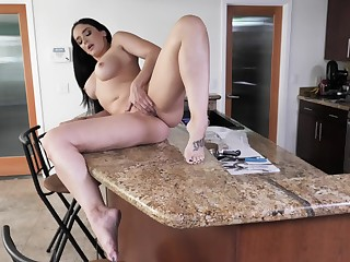 Alone join in matrimony finger fucks on the kitchen pole till such time as she cums
