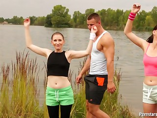 Wild outdoor orgy by the lake with redhead chick Isabella Chrystin