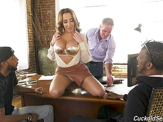 Husband licks feet of Richelle Ryan while a black stud fucks her