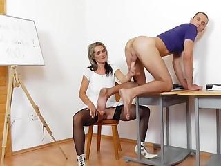 Mommy Teacher Jerking Male Pole