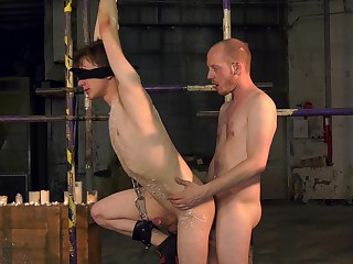Energized twink endures rough anal in kinky BDSM edict