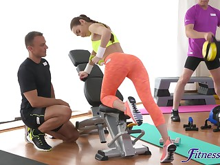 Smooth fucking atop the gym equipment with a small tits teen