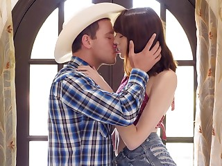 Cute cowgirl Lena Anderson sucks dick and gets it good and hard