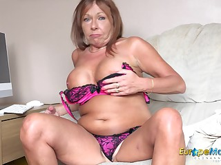EuropeMaturE Big Natural Tits Solo Self Fingering