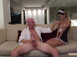 Enticing Asian babe puts on her French sheila outfit for a moisture have sex