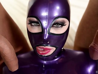 Hardcore fucking readily obtainable home between two guys and slutty Lucy Latex