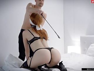 Redhead plays submissive in scenes of energized maledom