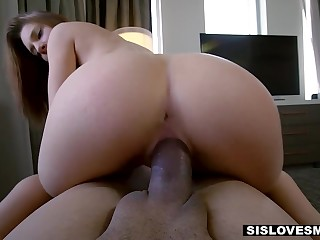 Real stepbrother's cock instead of dildo fellow