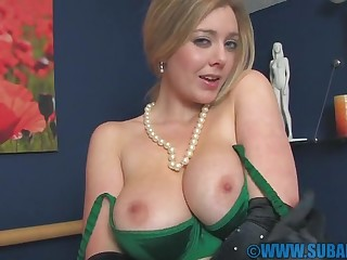 Amateur videotape of busty wife Sapphire Blue playing with her cunt