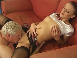 Nice fucking on along to sofa with closely-knit boobs Cleo Summers in stockings