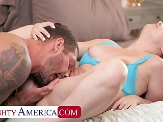 Naughty America: Aria Banks rides her friend's dad with her tight wet pussy! in excess of PornHD
