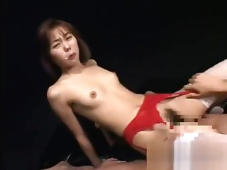 Japanese girl opens mouth for cum from multiple guys