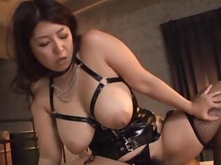 BBW Japanese MILF Haduki Nakho surrounding leather moans while having coition